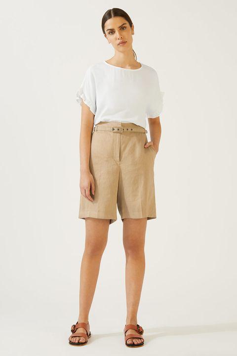 Jigsaw portofino linen bermuda shorts