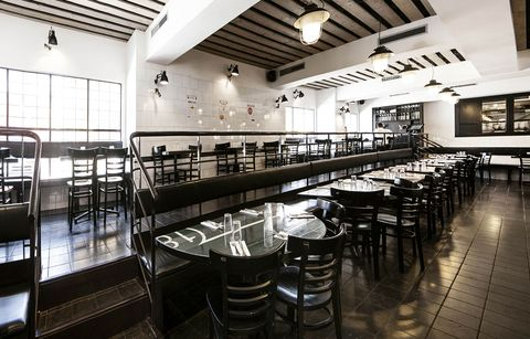 Restaurant, Building, Interior design, Architecture, Room, Table, Cafeteria, Black-and-white, Chair, Furniture,