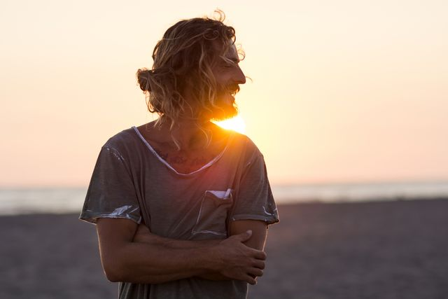 portrait and sunset at the beach