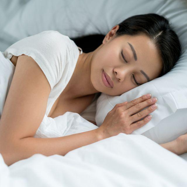 portrait of a beautiful asian woman sleeping