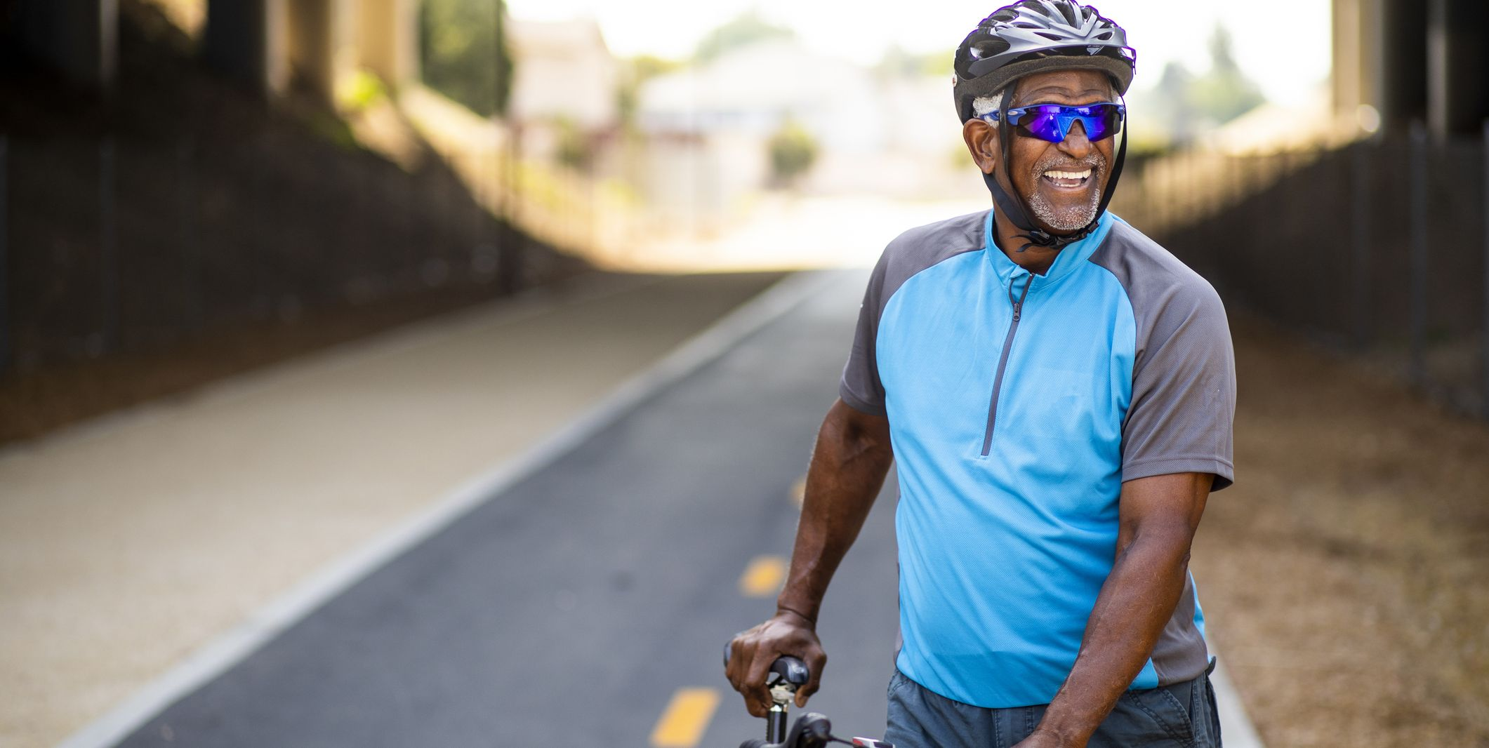 Portrait of a senior black male cyclist