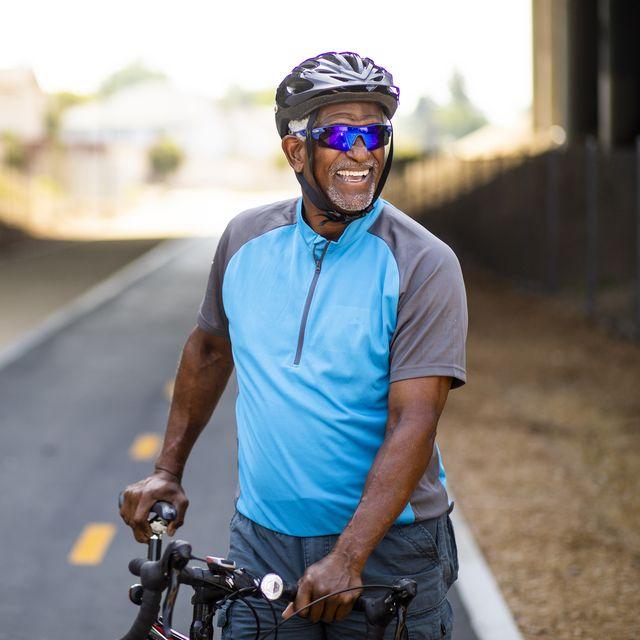 portrait of a senior black male cyclist
