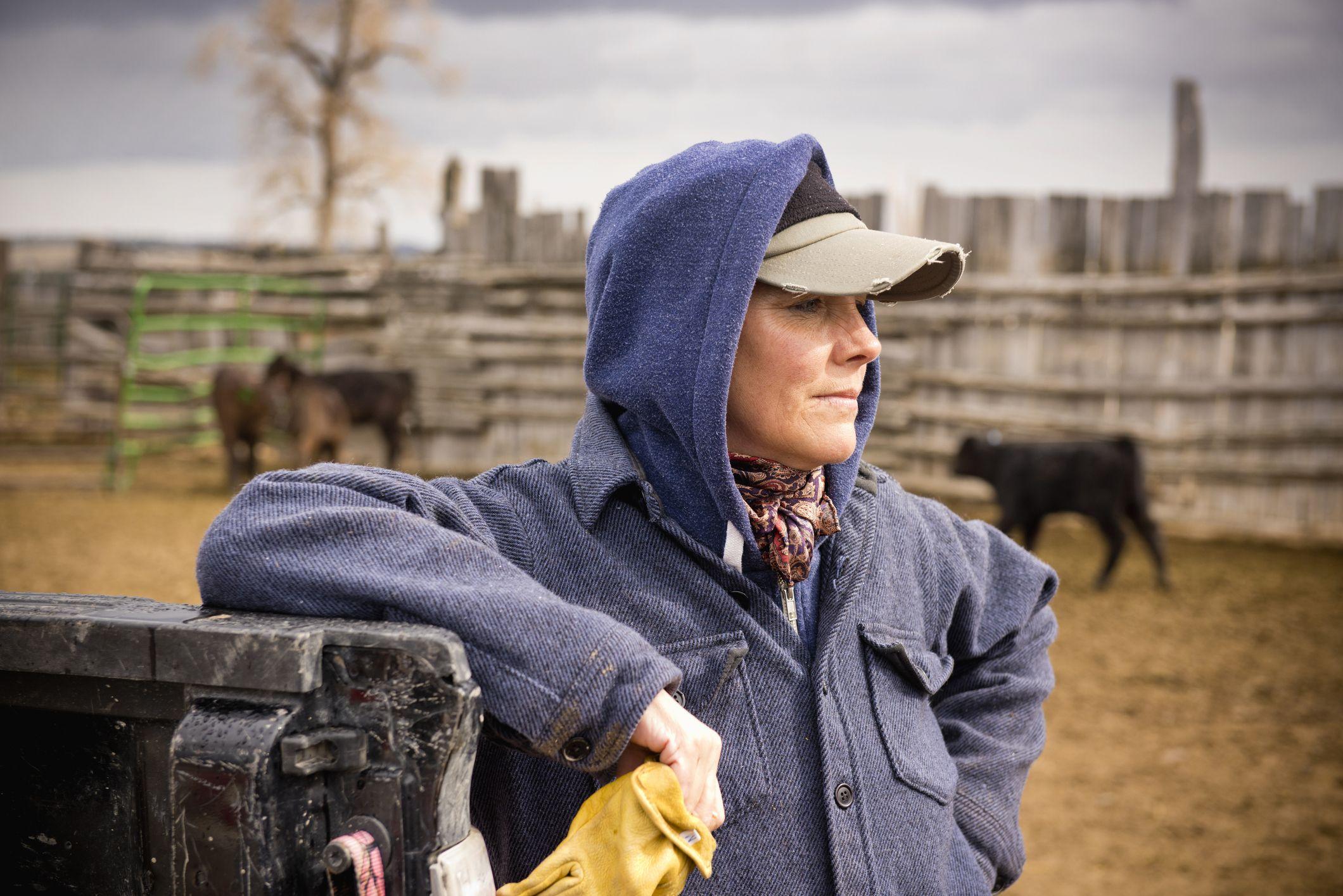 portrett, av, ei, kvinne, arbeid, på, montana, ranch