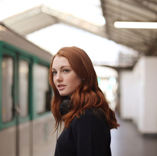 portrait of a young woman in the subway in paris