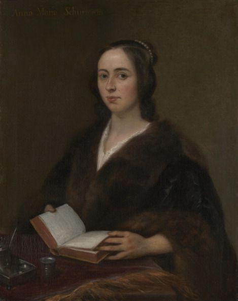 portret van anna maria van schurman 1607 1678, de eerste vrouwelijke student van nederland, terwijl ze een boek leest