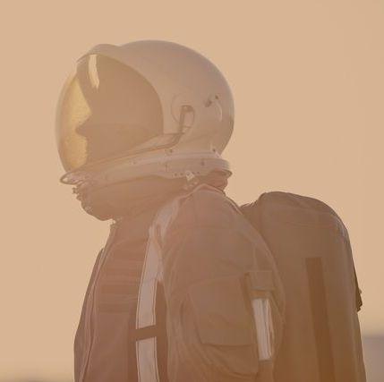 portrait of astronaut on mars