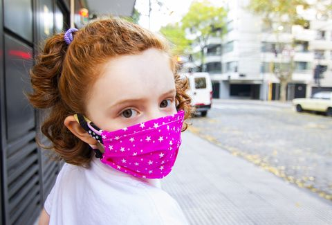 portrait of cute girl with mask
