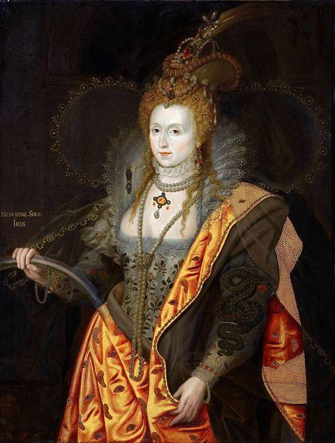 Portrait of Elizabeth I of England (1533-1603), in ballet costume as Iris (Rainbow Portrait). Artist: Healy, George Peter Alexander (1813-1894)