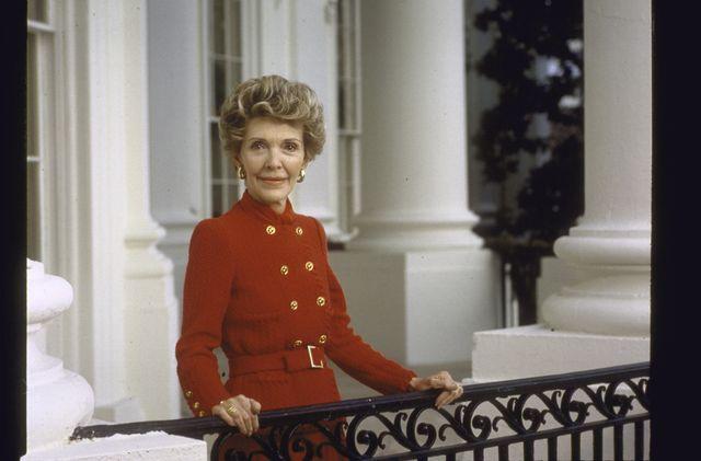 portrait of first lady nancy reagan on white house balcony