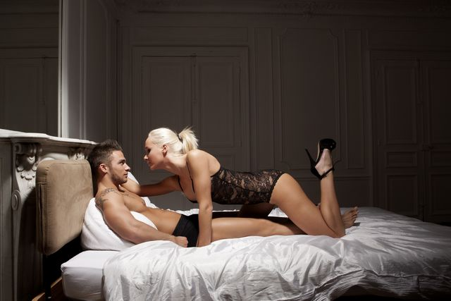 portrait of intimate couple on bed