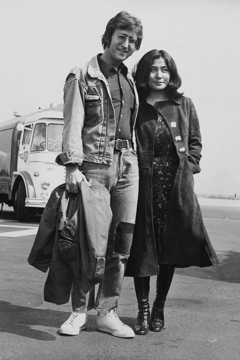 Portrait Of John Lennon And Yoko Ono Going To Cannes Festival At Nice In France During Seventies
