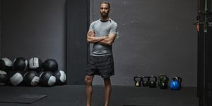 Portrait of male athlete in gym gym