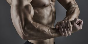 Portrait of muscular male bodybuilder.