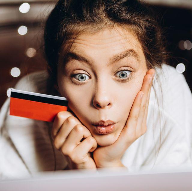 portrait of teenage girl shopping online,ukraine