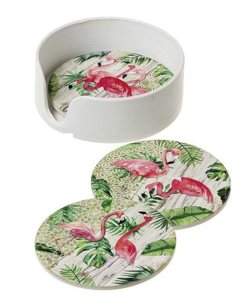 Posavasos de cerámica con flamencos rosas