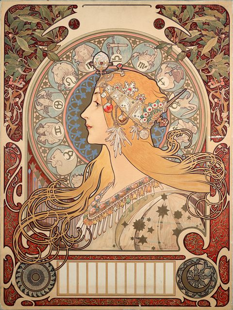 Poster illustration by Alphonse Mucha for La Plume