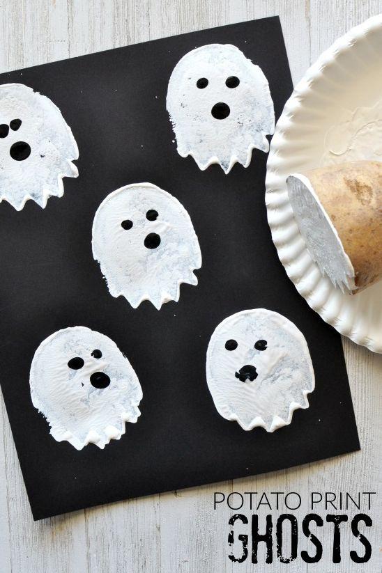 potato stamp ghost halloween crafts for preschoolers