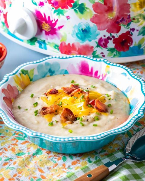 slow cooker potato soup with floral slow cooker