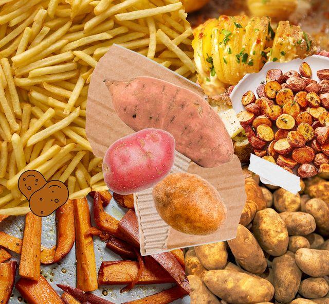 potato collage, russet potatoes, red potatoes, and yams