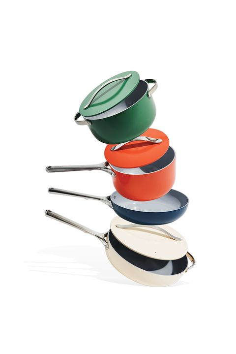 pots and pans in a variety of colors