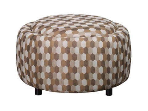Pouf/poggiapiedi circolare marrone Figaro Caratterizzato da una fantasia Midcentury, è dotato di un coperchio che può contenere piccoli oggetti da tenere in salotto. Misure: 74x40 cm.
