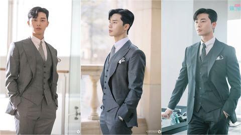 Suit, Clothing, Formal wear, White-collar worker, Outerwear, Standing, Blazer, Jacket, Tuxedo, Sleeve,