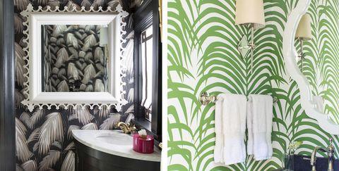 Green, Room, Bathroom, Wallpaper, Interior design, Property, Wall, Tile, Shower curtain, Curtain,