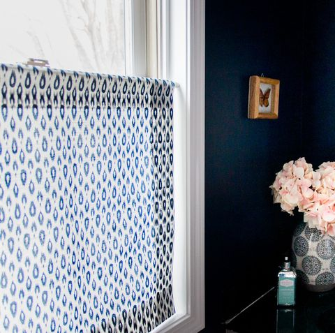 Blue, Black, Room, Product, Interior design, Bathroom, Tile, Wall, Home, Textile,