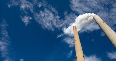 Sky, Blue, Cloud, Smoke, Daytime, Atmosphere, Cumulus, Architecture, Pollution, Meteorological phenomenon,