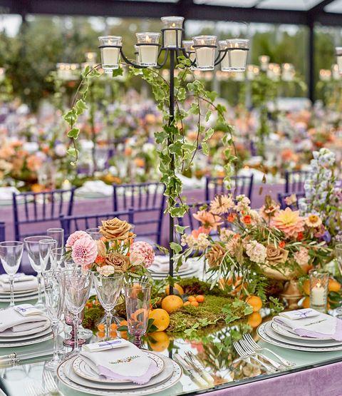 Floristry, Centrepiece, Flower Arranging, Floral design, Flower, Yellow, Rehearsal dinner, Table, Plant, Wedding reception,