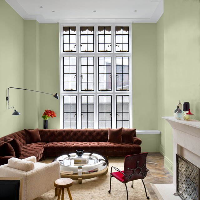ppg color of the year olive sprig in living room