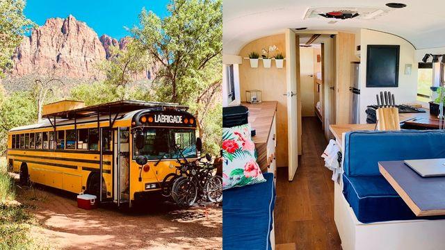 bus interior and exterior