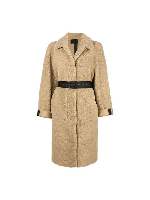 Clothing, Trench coat, Coat, Outerwear, Overcoat, Beige, Sleeve, Robe, Jacket, Dress,