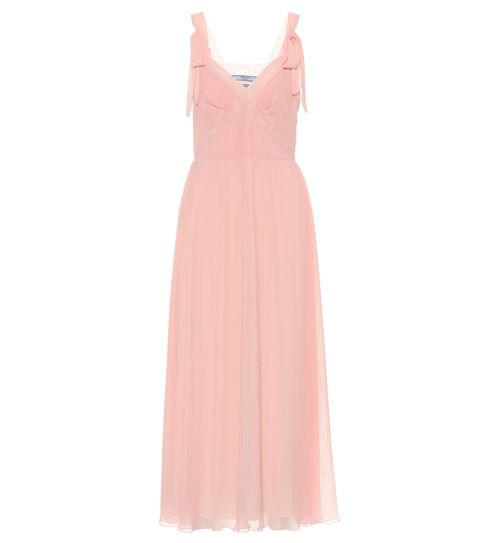 Clothing, Dress, Day dress, Pink, Gown, Peach, Cocktail dress, Neck, A-line, Formal wear,