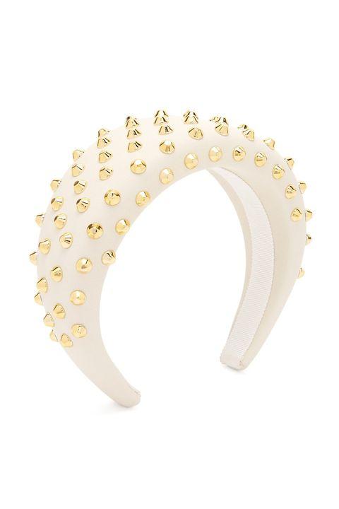 Fashion accessory, Ear, Jewellery, Yellow, Headgear, Headpiece, Headband, Metal, Hair accessory, Body jewelry,