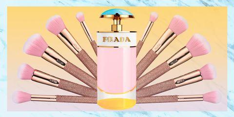 Makeup brushes, Brush, Cosmetics, Pink, Material property, Tool, Eye shadow,