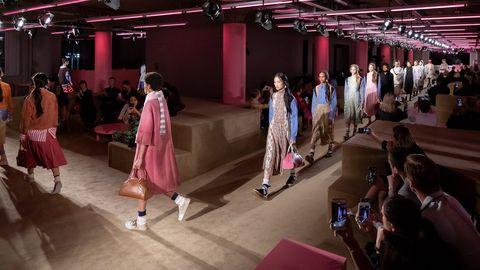 Pink, Fashion, Event, Dress, Fashion show, Performance, Fashion design, Runway, Room, Magenta,