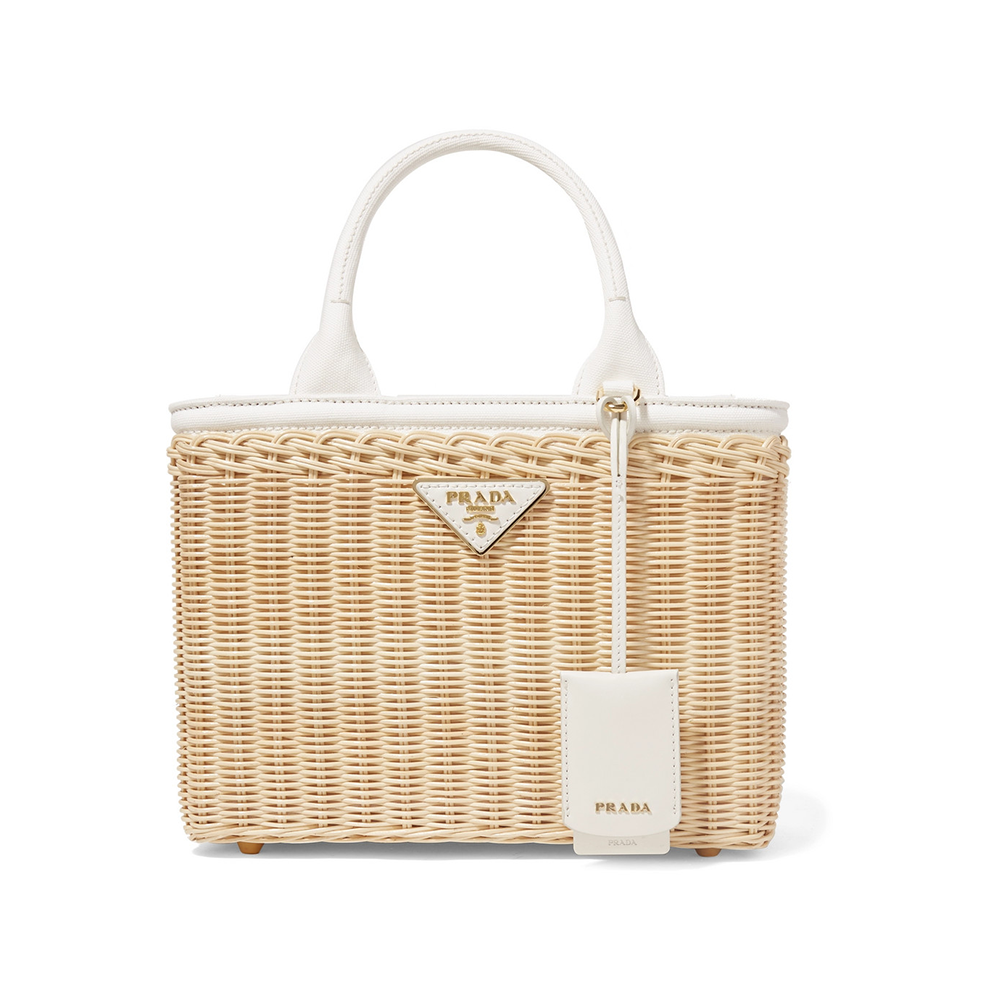 prada wicker tote handbag