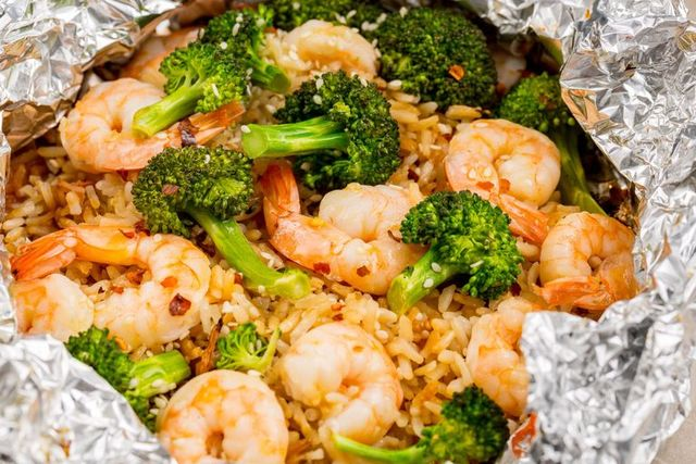 prawn, broccoli  rice foil packs