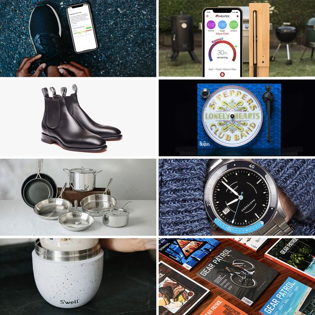 collage of insidetracker app, meater thermometer, rmwilliams boots, martenero watch, sardel pans, project turntable, s'well container, and gear patrol magazine