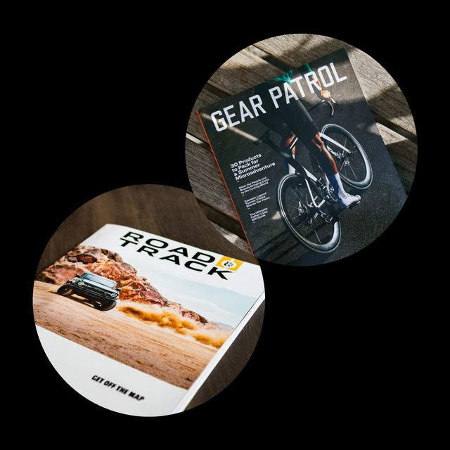 cover of road and track magazine alongside cover of gear patrol magazine, issue sixteen