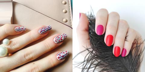 Nail polish, Nail, Manicure, Nail care, Finger, Cosmetics, Red, Pink, Beauty, Hand,