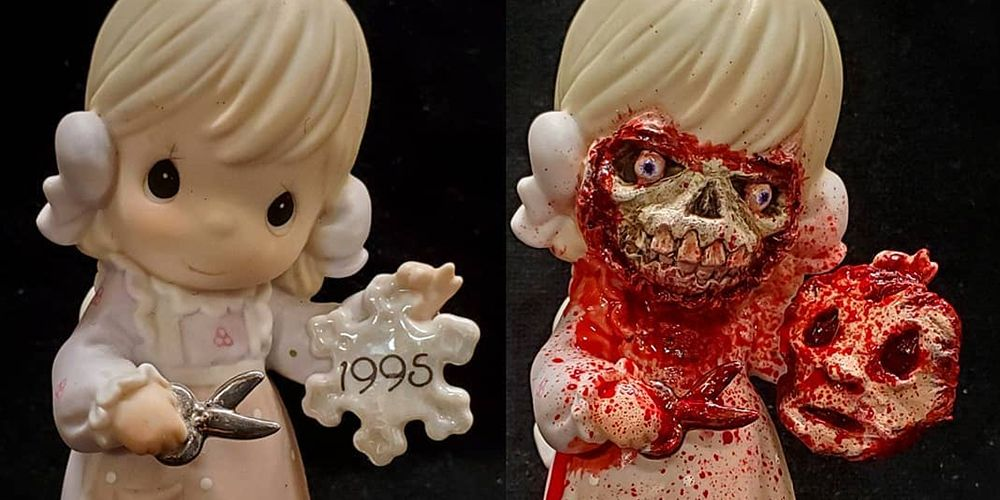 This Artist Turns Precious Moments Figurines Into Your Worst Nightmare