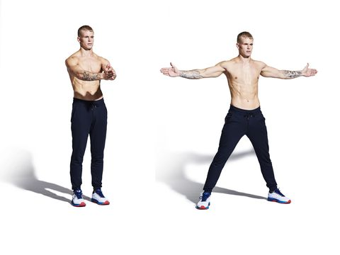 Standing, Shoulder, Arm, Joint, Leg, Fitness professional, Physical fitness, Muscle, Balance, Human body,
