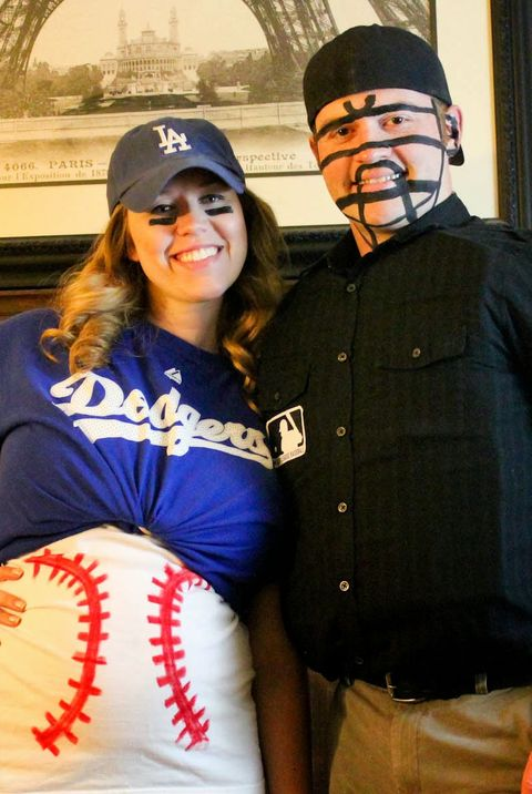 pregnant couples costumes baseball and umpire