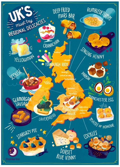 Map Of England Edinburgh.Fun Map Reveals Ultimate Regional Foodie Tour Of The Uk Best