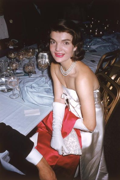 Jackie Kennedy at the April in Paris ball in New York City.