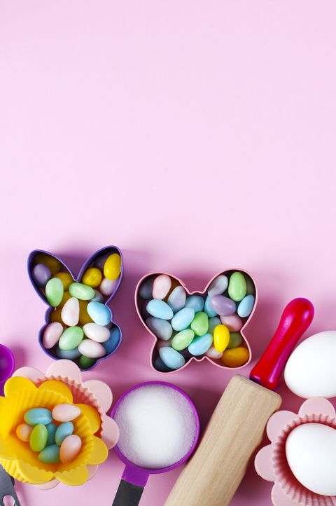 preparation for easter baking ingredients and kitchen items for baking