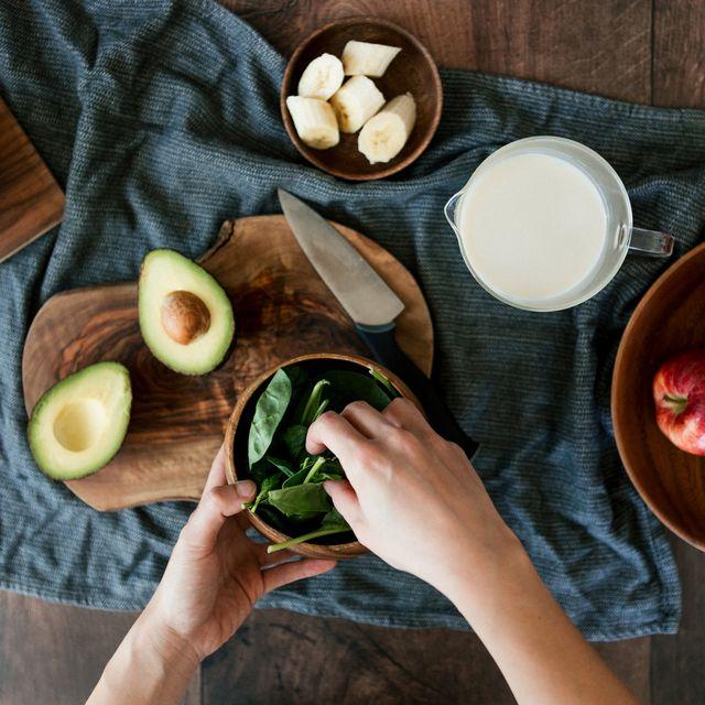 preparing vegan food on a wooden worktop