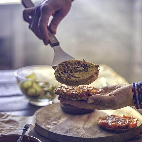 preparing vegetarian tofu burger